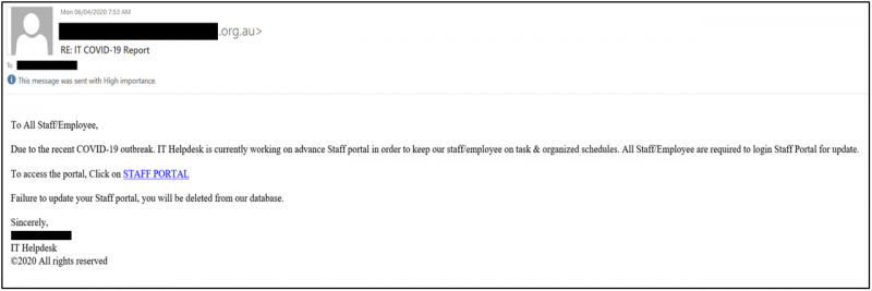Fake COVID-19 report email